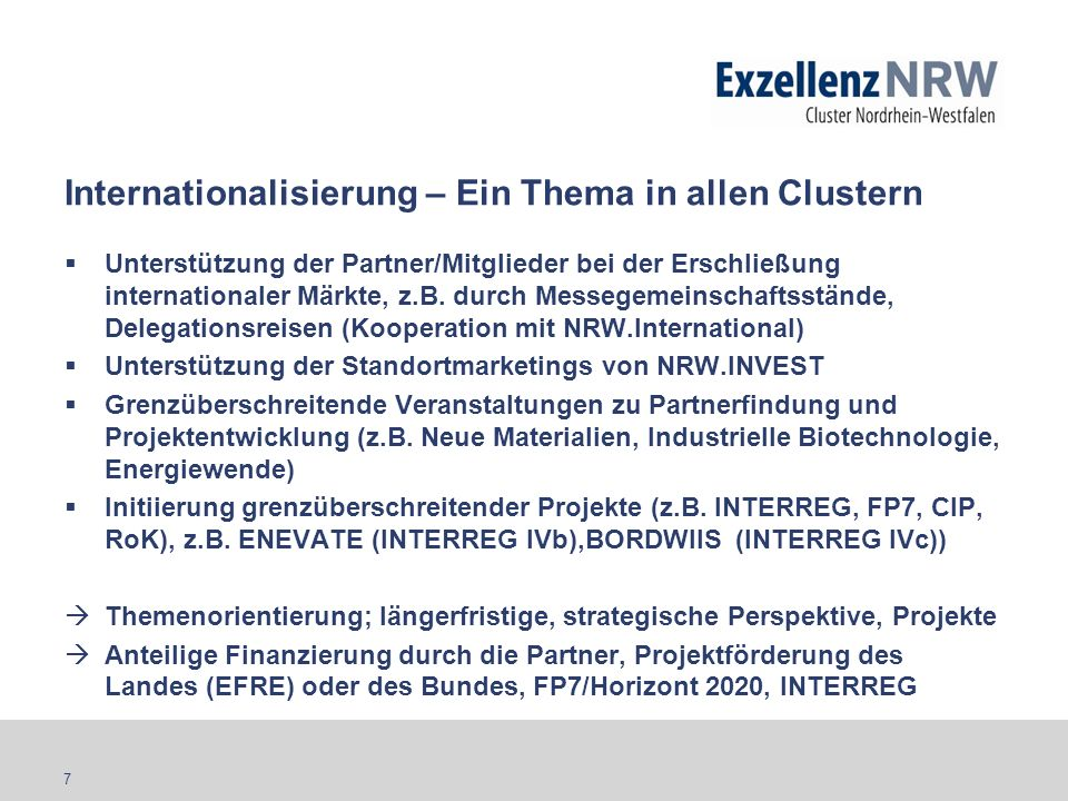 Internationalisierung – Ein Thema in allen Clustern