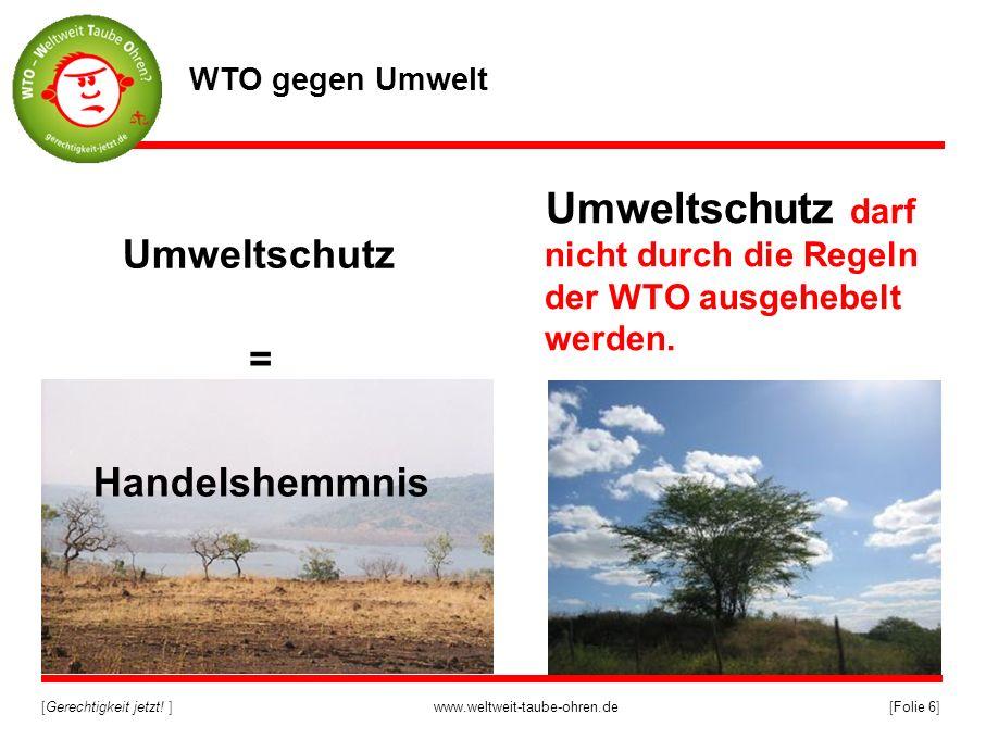 Umweltschutz darf nicht durch die Regeln der WTO ausgehebelt werden.