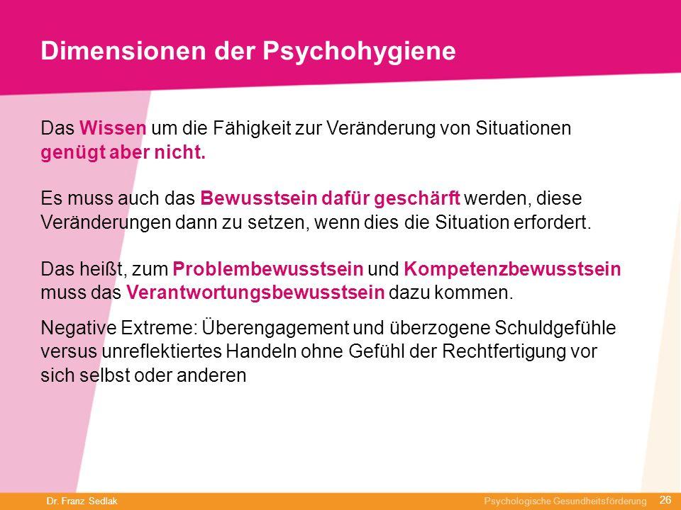Dimensionen der Psychohygiene