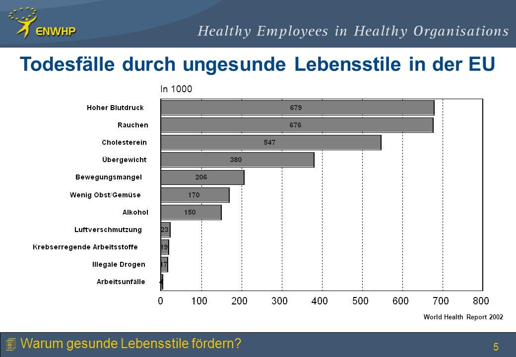 Todesfälle durch ungesunde Lebensstile in der EU
