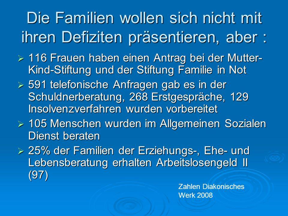 Die Familien wollen sich nicht mit ihren Defiziten präsentieren, aber :