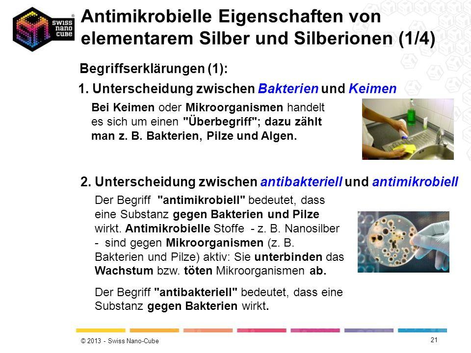 Antimikrobielle Eigenschaften von elementarem Silber und Silberionen (1/4)