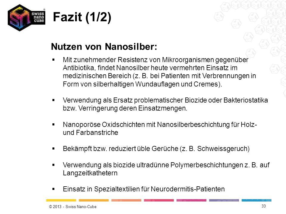 Fazit (1/2) Nutzen von Nanosilber: