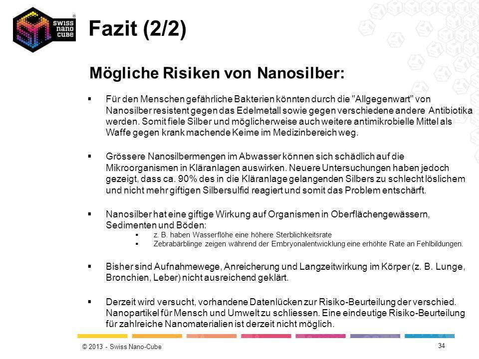 Fazit (2/2) Mögliche Risiken von Nanosilber: