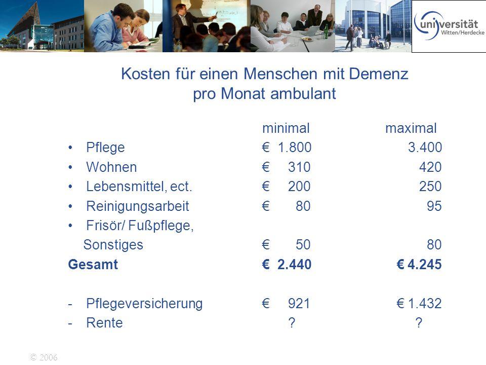 Kosten für einen Menschen mit Demenz pro Monat ambulant