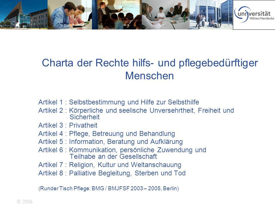 Charta der Rechte hilfs- und pflegebedürftiger Menschen