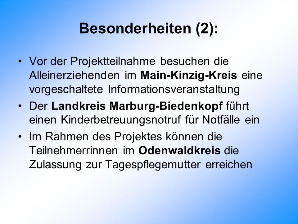 Besonderheiten (2): Vor der Projektteilnahme besuchen die Alleinerziehenden im Main-Kinzig-Kreis eine vorgeschaltete Informationsveranstaltung.