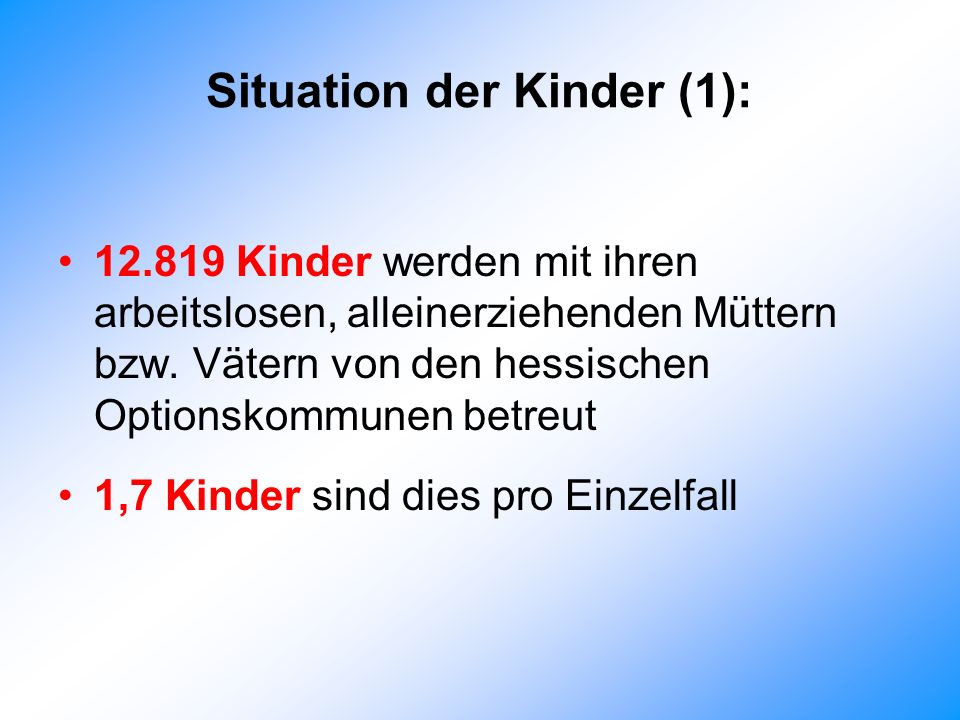 Situation der Kinder (1):