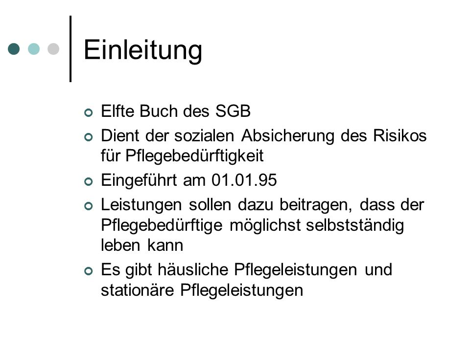 Einleitung Elfte Buch des SGB