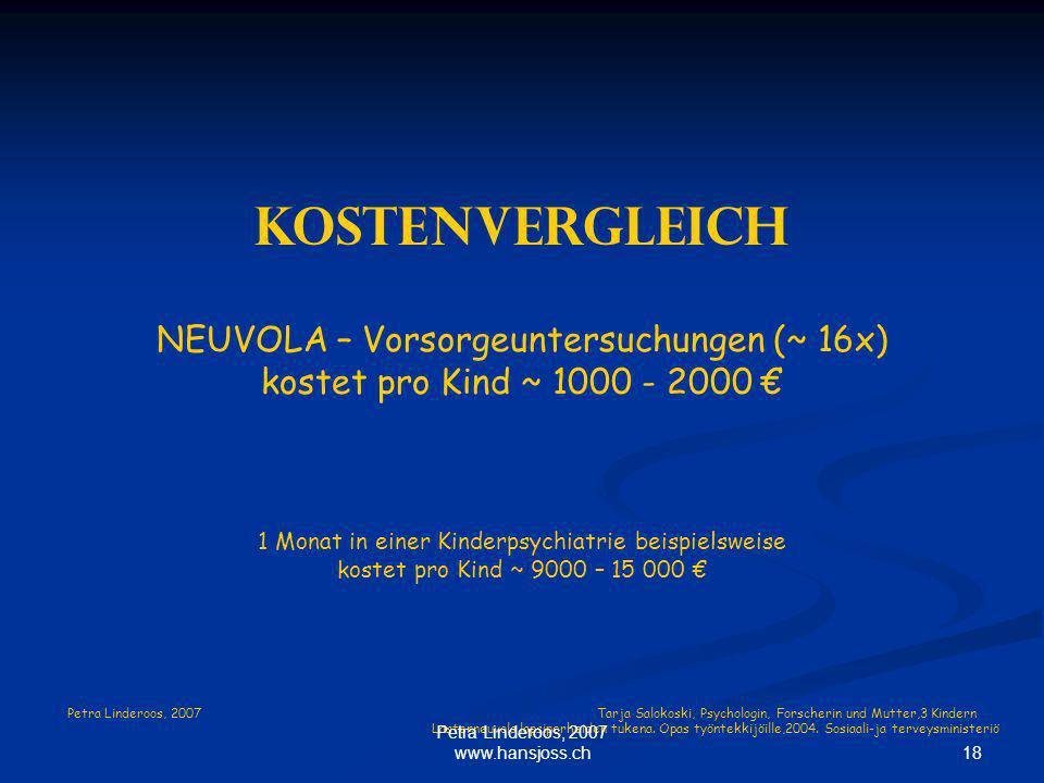 Kostenvergleich NEUVOLA – Vorsorgeuntersuchungen (~ 16x)
