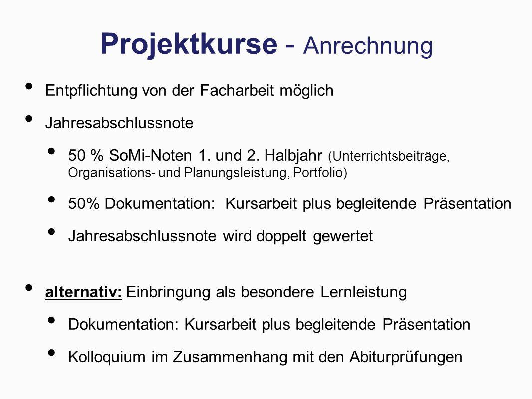 Projektkurse - Anrechnung