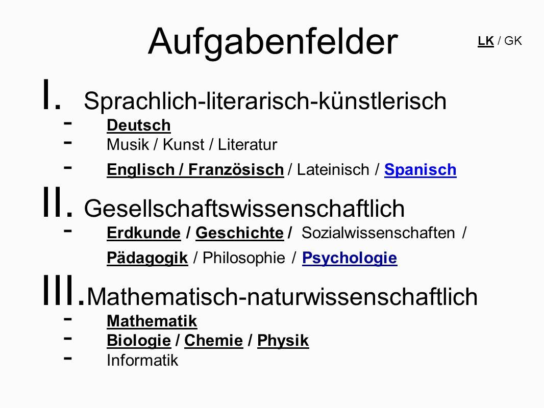 Aufgabenfelder Sprachlich-literarisch-künstlerisch