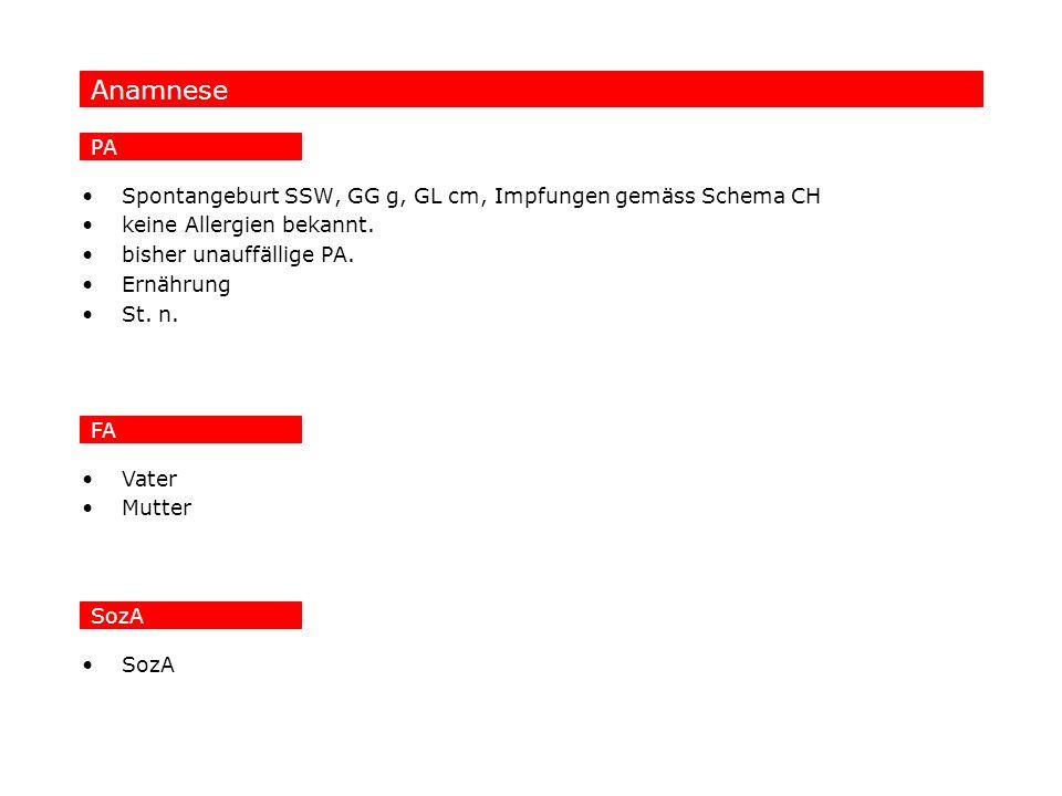 Anamnese PA Spontangeburt SSW, GG g, GL cm, Impfungen gemäss Schema CH