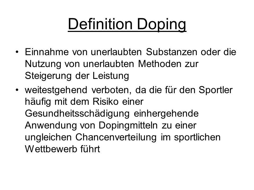 Definition Doping Einnahme von unerlaubten Substanzen oder die Nutzung von unerlaubten Methoden zur Steigerung der Leistung.