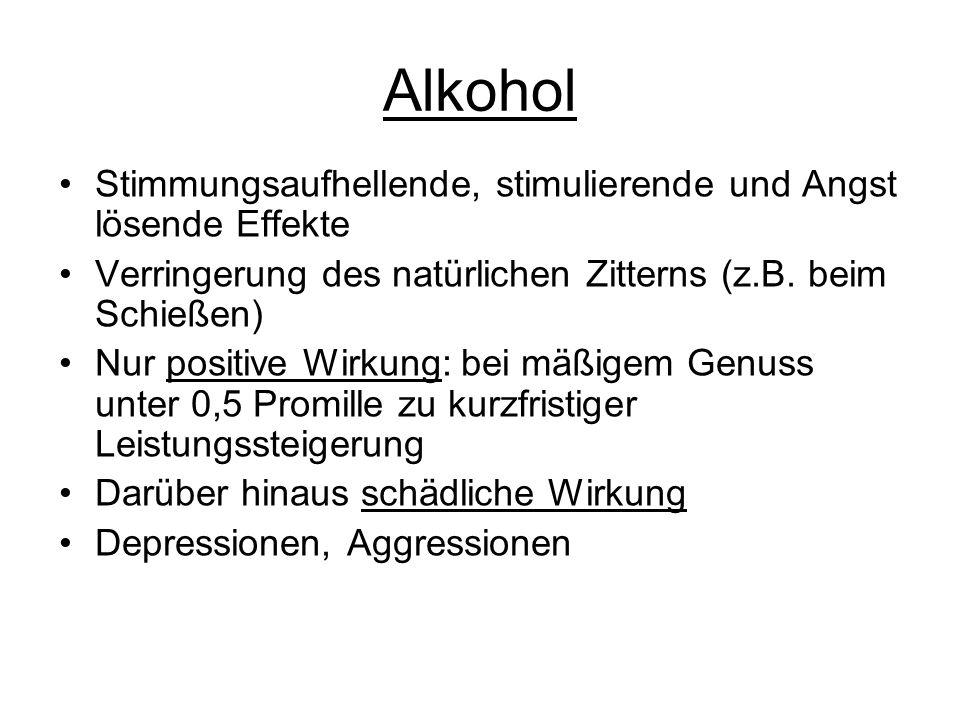Alkohol Stimmungsaufhellende, stimulierende und Angst lösende Effekte