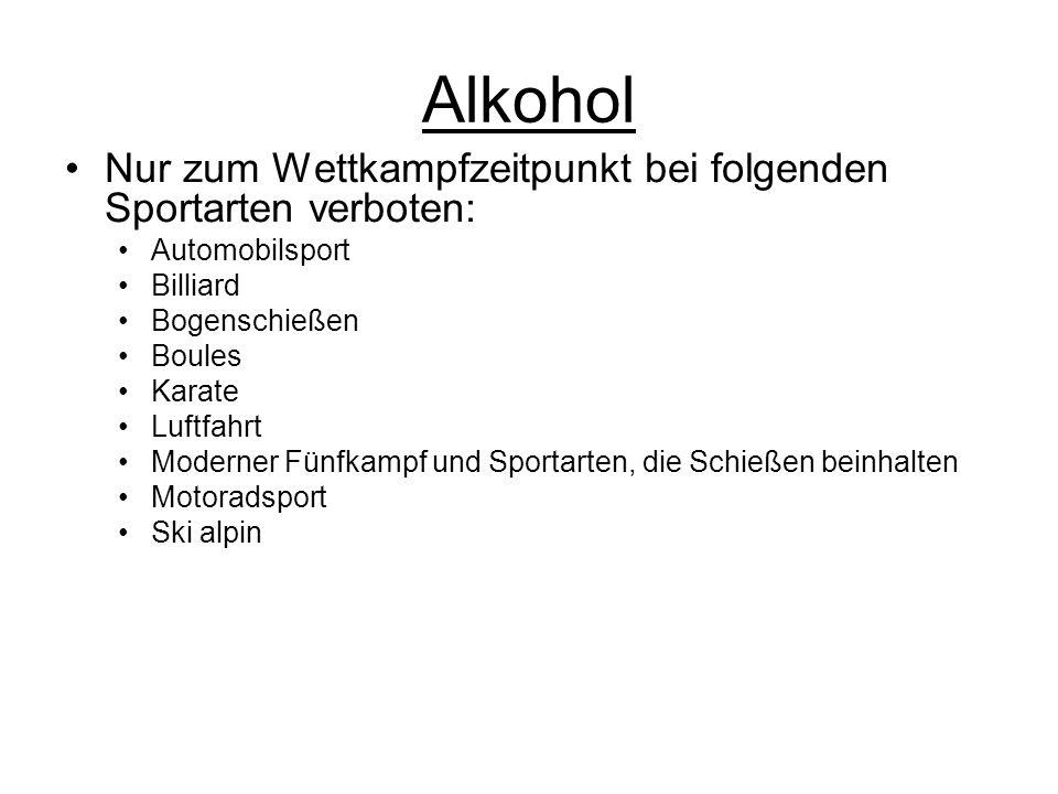 Alkohol Nur zum Wettkampfzeitpunkt bei folgenden Sportarten verboten: