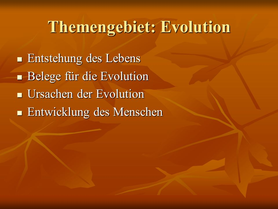 Themengebiet: Evolution