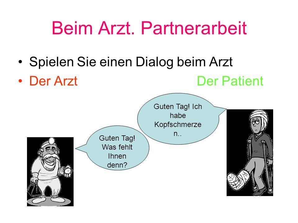 Beim Arzt. Partnerarbeit