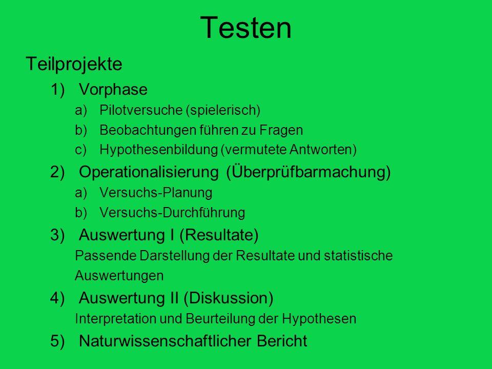 Testen Teilprojekte Vorphase Operationalisierung (Überprüfbarmachung)