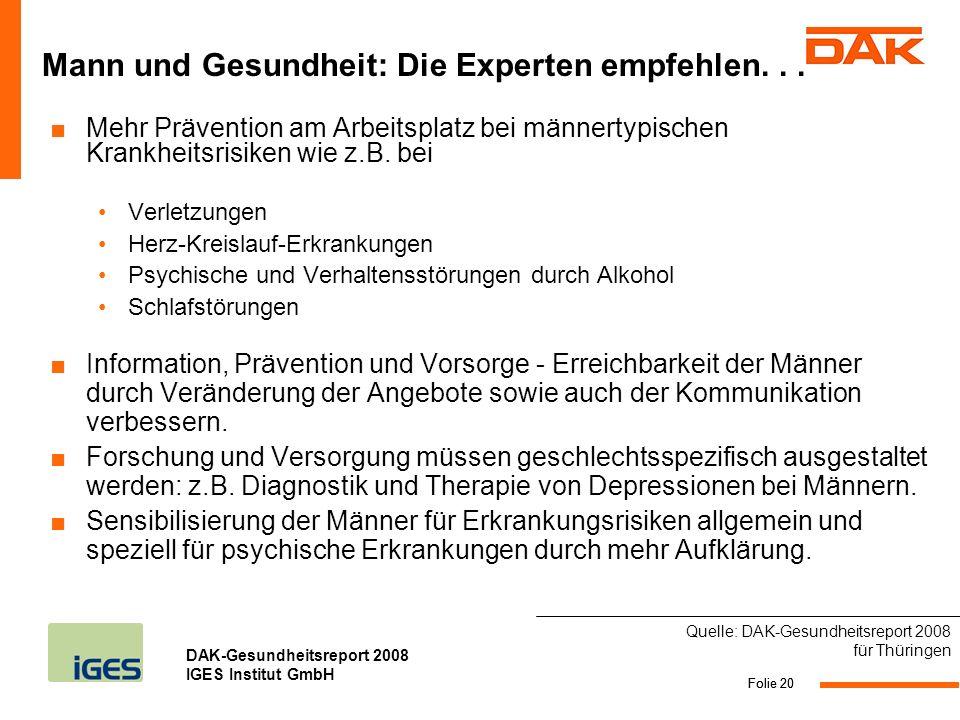 Mann und Gesundheit: Die Experten empfehlen. . .