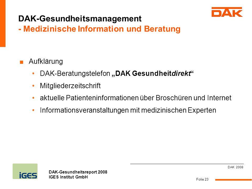DAK-Gesundheitsmanagement - Medizinische Information und Beratung