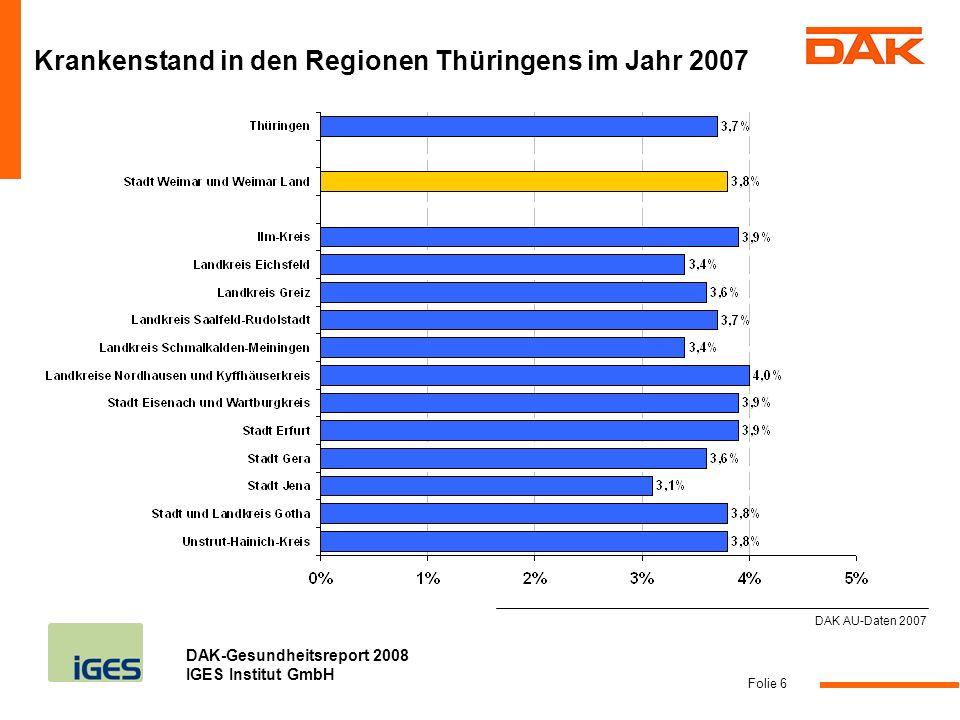 Krankenstand in den Regionen Thüringens im Jahr 2007