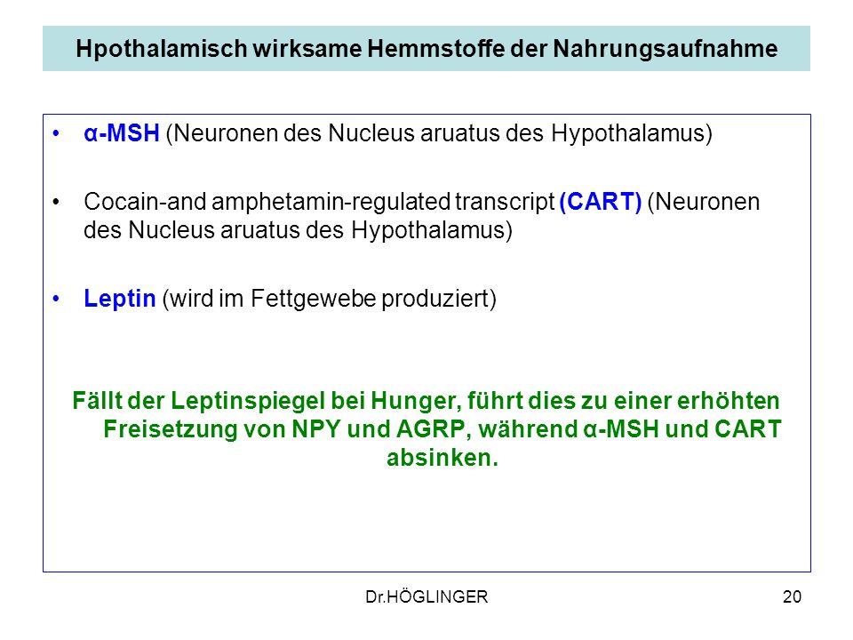 Hpothalamisch wirksame Hemmstoffe der Nahrungsaufnahme
