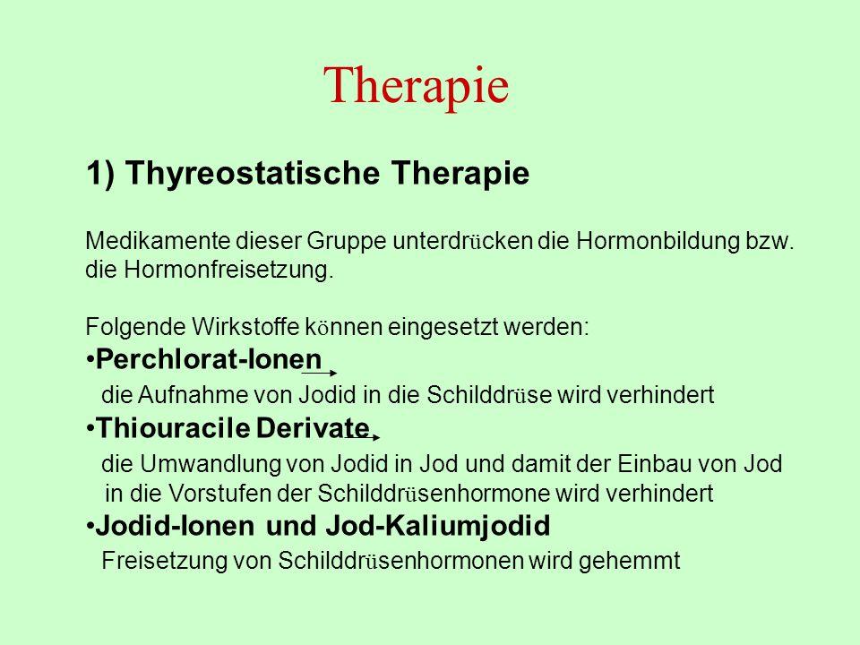 Therapie 1) Thyreostatische Therapie Perchlorat-Ionen