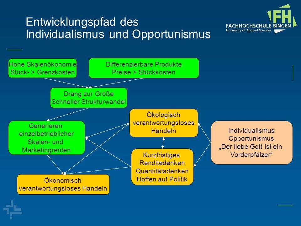 Entwicklungspfad des Individualismus und Opportunismus