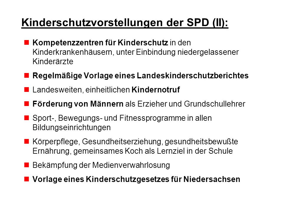 Kinderschutzvorstellungen der SPD (II):