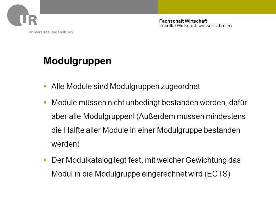 Modulgruppen Alle Module sind Modulgruppen zugeordnet