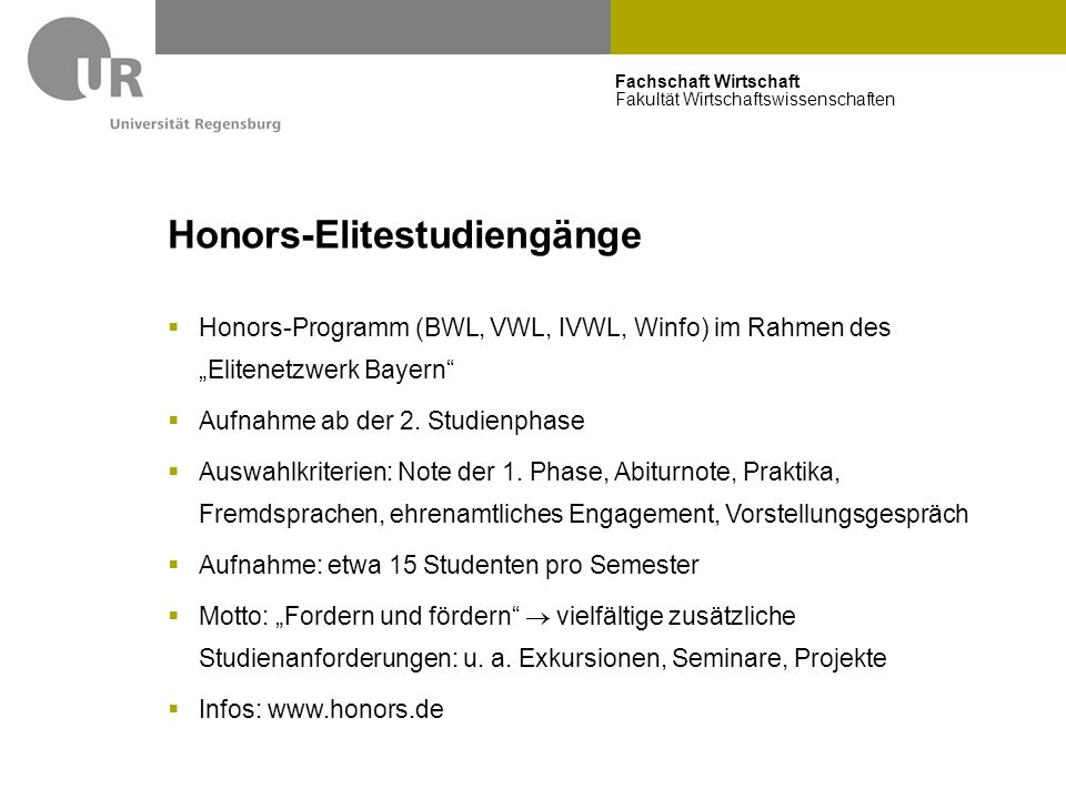 Honors-Elitestudiengänge