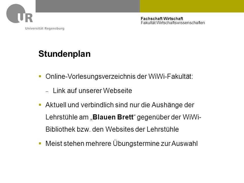 Stundenplan Online-Vorlesungsverzeichnis der WiWi-Fakultät: