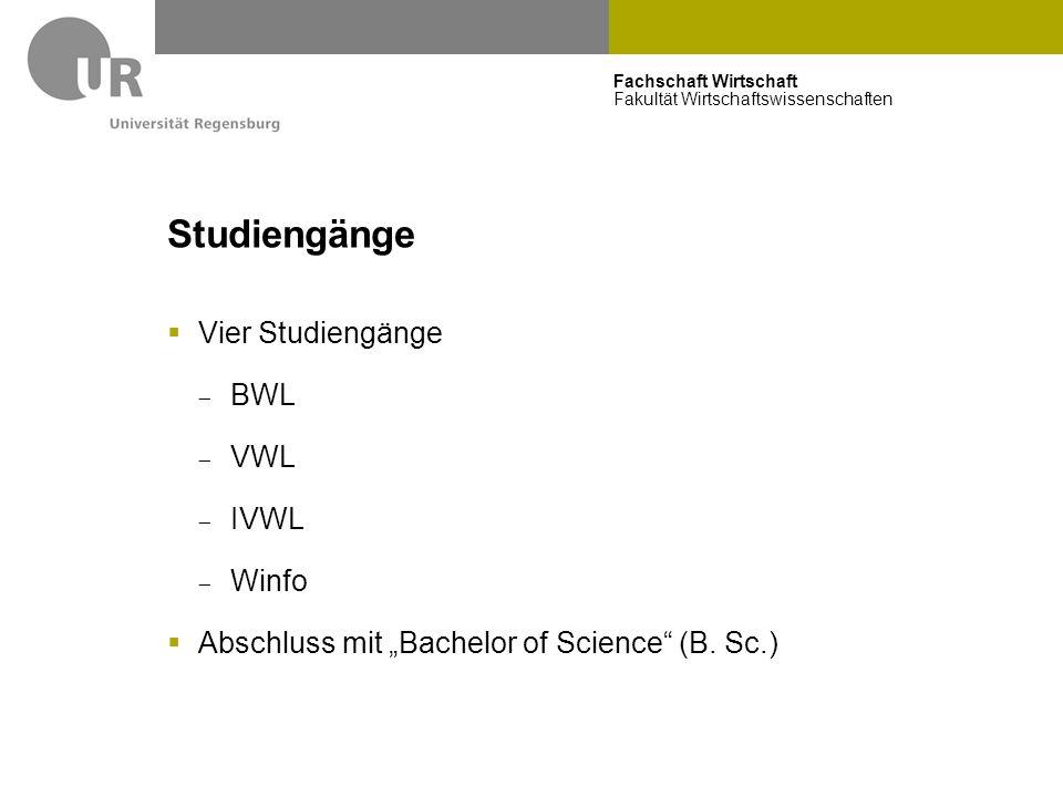 Studiengänge Vier Studiengänge BWL VWL IVWL Winfo