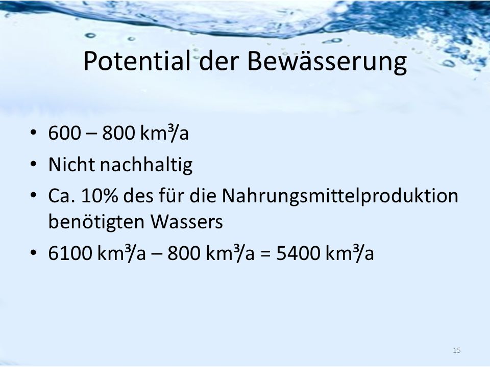 Potential der Bewässerung