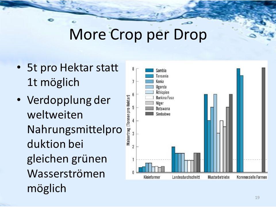 More Crop per Drop 5t pro Hektar statt 1t möglich