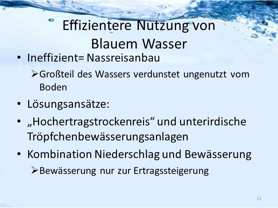 Effizientere Nutzung von Blauem Wasser