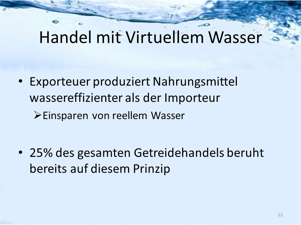 Handel mit Virtuellem Wasser