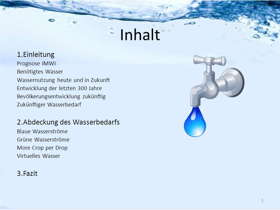Inhalt 1.Einleitung 2.Abdeckung des Wasserbedarfs 3.Fazit