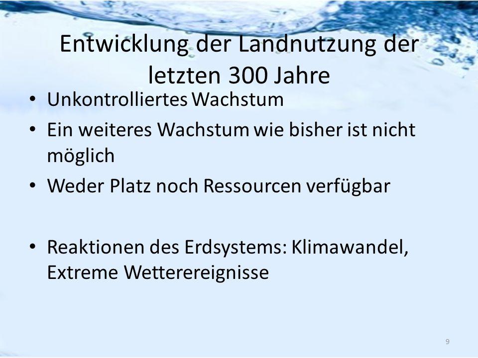 Entwicklung der Landnutzung der letzten 300 Jahre