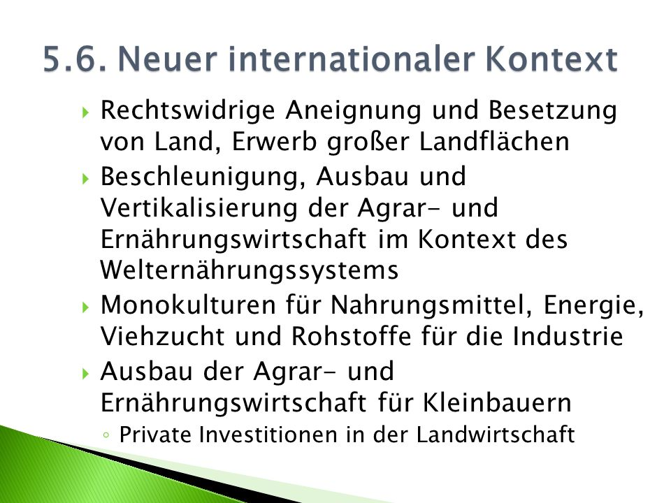 5.6. Neuer internationaler Kontext
