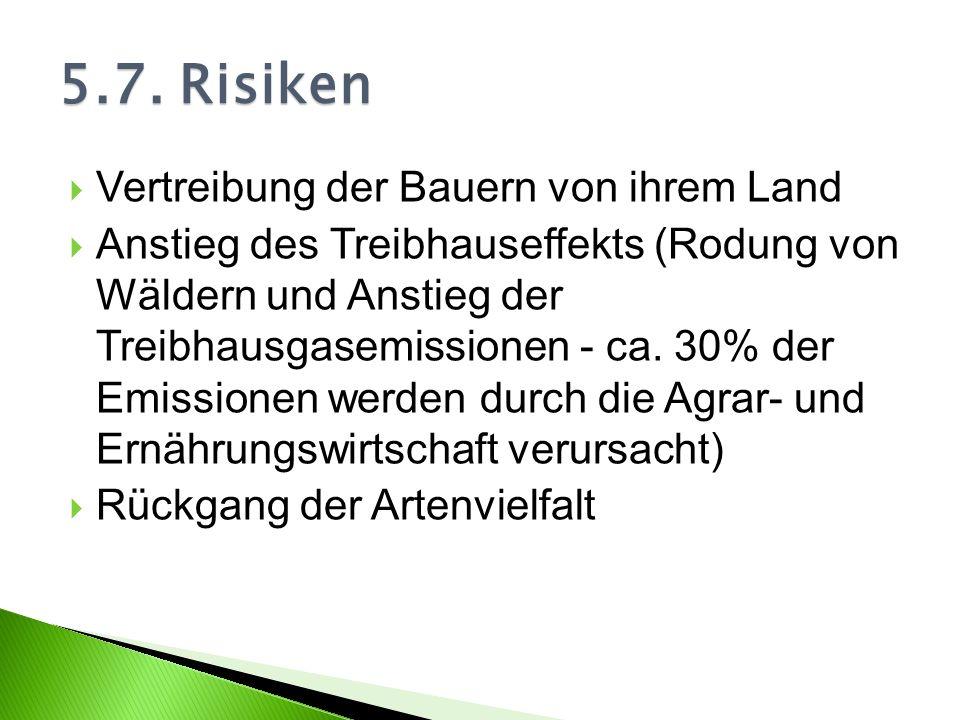 5.7. Risiken Vertreibung der Bauern von ihrem Land