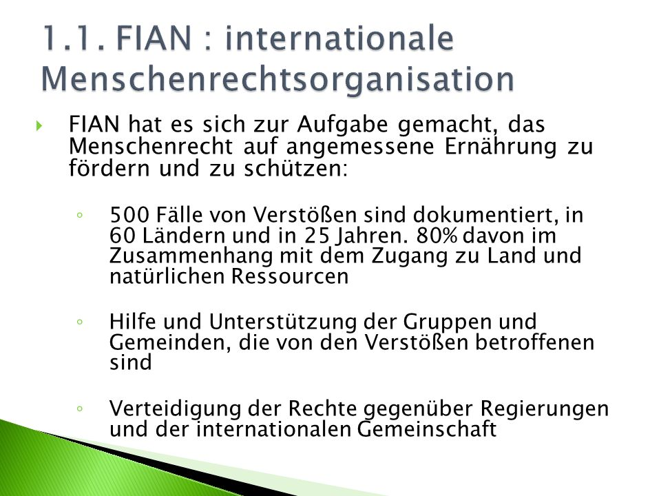 1.1. FIAN : internationale Menschenrechtsorganisation