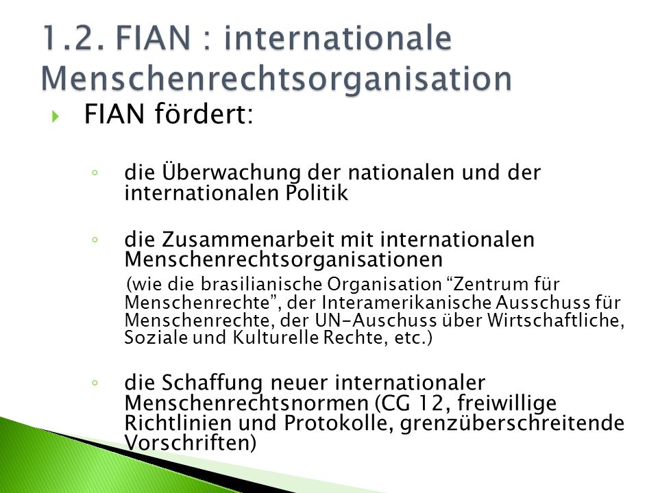 1.2. FIAN : internationale Menschenrechtsorganisation