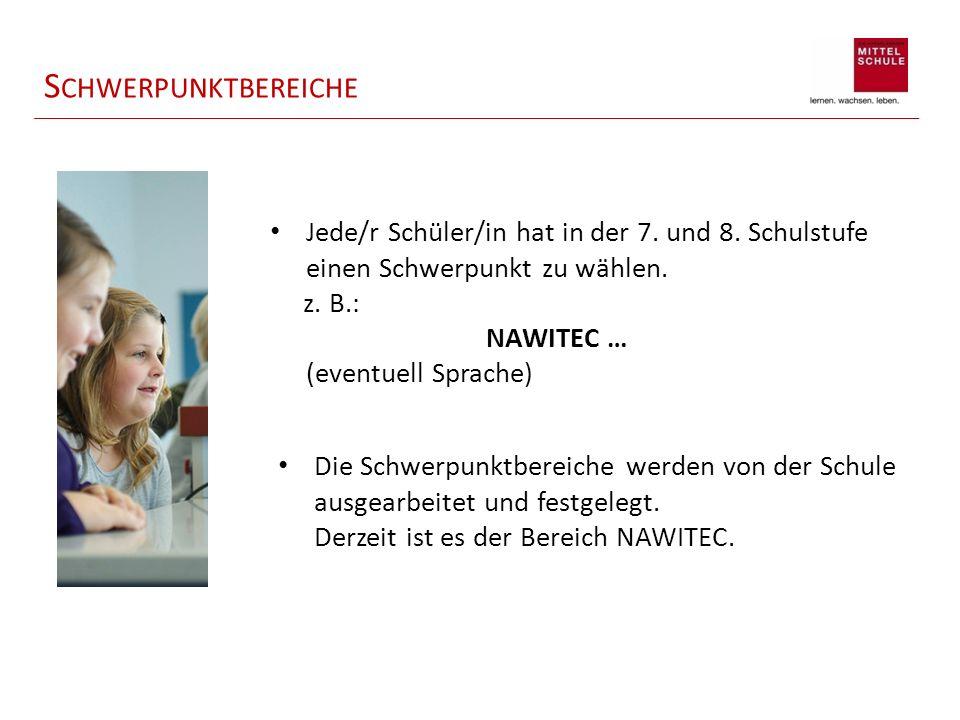 Schwerpunktbereiche Jede/r Schüler/in hat in der 7. und 8. Schulstufe einen Schwerpunkt zu wählen. z. B.: NAWITEC …