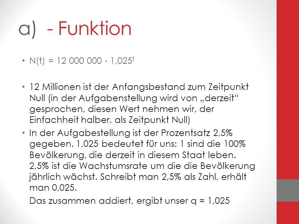 a) - Funktion N(t) = 12 000 000  1,025t.
