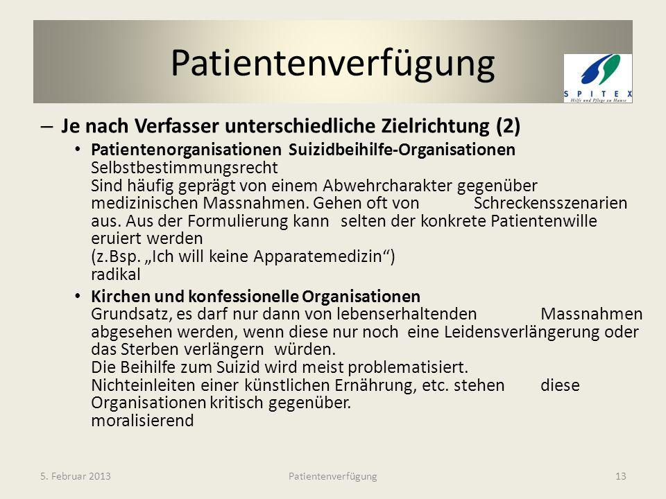 Patientenverfügung Je nach Verfasser unterschiedliche Zielrichtung (2)