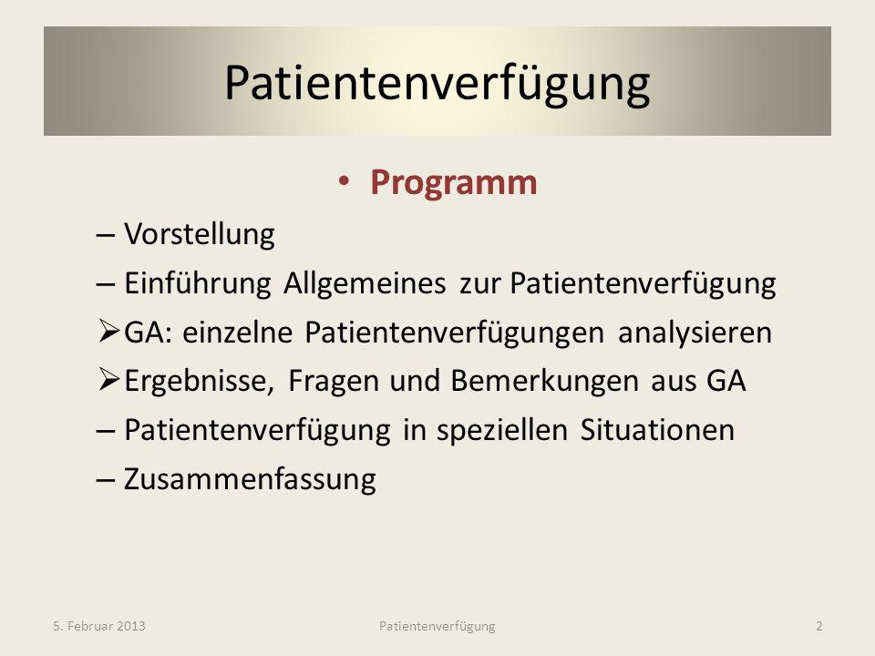Patientenverfügung Programm Vorstellung