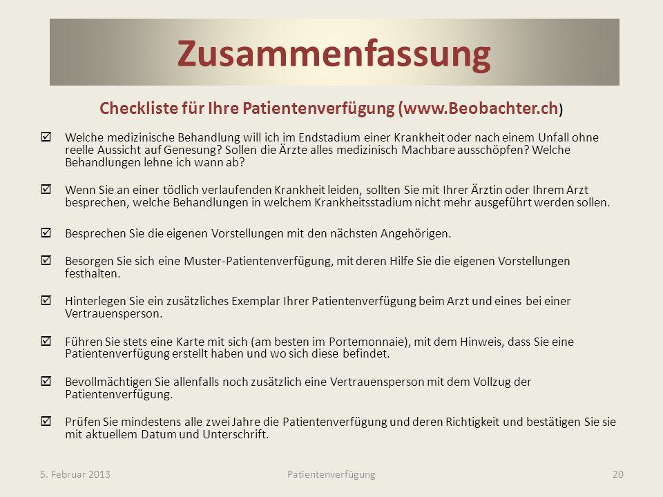 Checkliste für Ihre Patientenverfügung (www.Beobachter.ch)