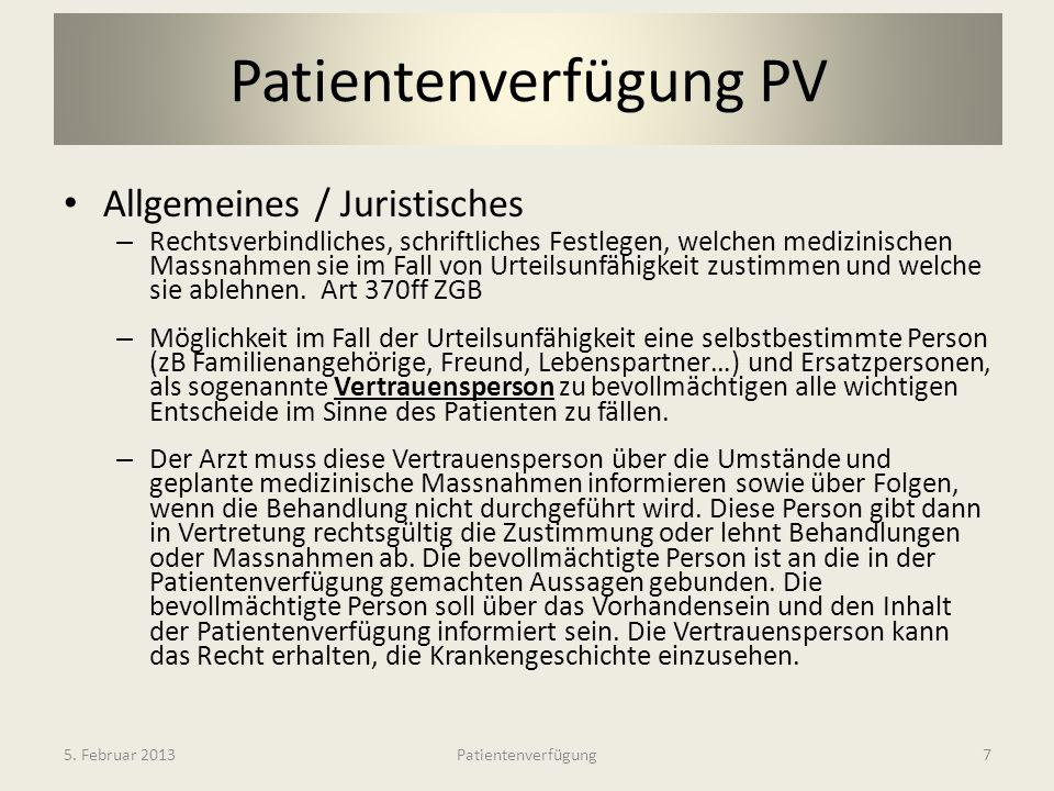 Patientenverfügung PV